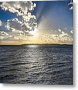 Morning Sun Punching Through The Clouds In St. Croix Metal Print