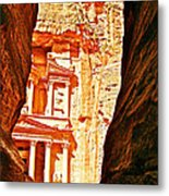 Morning View Of The Treasury From The Gorge In Petra-jordan  Metal Print