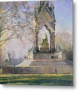 Morning Visitors To The Albert Memorial Oil On Canvas Metal Print