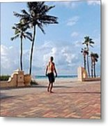 Morning Walk Along The Hollywood Beach Boardwalk Metal Print by Shawn Lyte