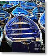 Moroccan Blue Fishing Boats Metal Print