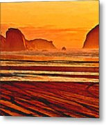 Morro Rock Painting Metal Print