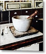 Mortar And Pestle In Apothecary Metal Print
