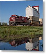 Train Reflection At Mortlach Saskatchewan Grain Elevator Metal Print by Steve Boyko