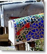 Mosaic Mailbox On The Turquoise Trail In New Mexico Metal Print