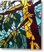 Mosaic Stained Glass - First Tree Metal Print by Catherine Van Der Woerd