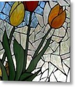 Mosaic Stained Glass - Spring Shower Metal Print