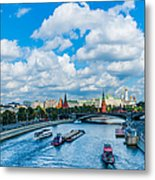 Moscow Kremlin And Busy River Traffic Metal Print