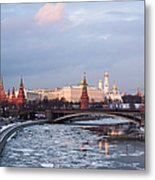 Moscow Kremlin In Winter Evening - Featured 3 Metal Print