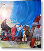 Moses Through The Red Sea Metal Print