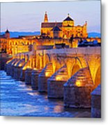 Mosque-cathedral And The Roman Bridge In Cordoba Metal Print