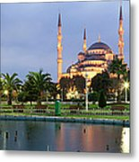 Mosque Lit Up At Dusk, Blue Mosque Metal Print