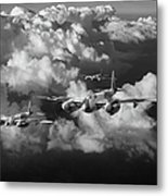Mosquitos Above Clouds Black And White Version Metal Print