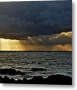 Moss Beach Sunset Storm Metal Print by Elery Oxford