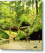 Moss Covered Rocks In Forest, Rocky Metal Print