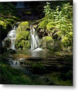 Mossy Rocks Waterfall 1 Metal Print