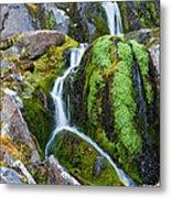 Mossy Waterfall At Snow Lake Metal Print