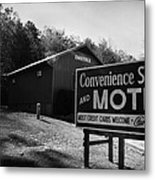 Motel Sign In Black And White Metal Print