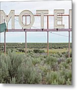 Motel Sign In Field Of Sage Brush, Out Metal Print