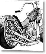 Motercycle Drawing Art Sketch - 5 Metal Print