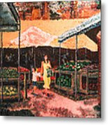 Mother And Child At The Farmer's Market Metal Print