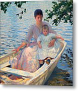 Mother And Child In A Boat Metal Print