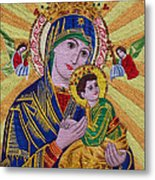 Mother And Child Hand Embroidery Metal Print by To-Tam Gerwe