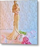 Mother And Child With Pink Tulips Metal Print