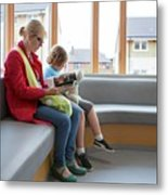 Mother And Son In Waiting Room Metal Print