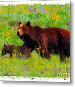 Mother Bear And Cub In Meadow Metal Print