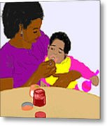 Mother Feeding Her Baby Metal Print