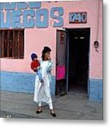 Mother Holding Child Waiting Metal Print