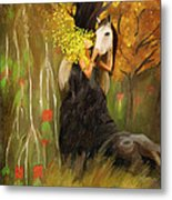 Mother Nature And Her White Horse Metal Print