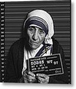 Mother Teresa Mug Shot Metal Print