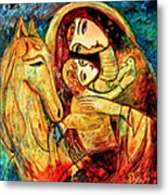 Mother With Child On Horse Metal Print