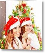 Mother With Daughter Celebrate Christmas Metal Print by Anna Om