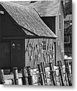 Motif Number One Bw Black And White Rockport Lobster Shack Maritime Metal Print