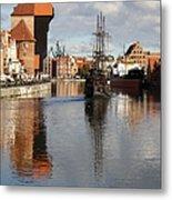 Motlawa River And Port Crane Metal Print