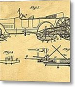 Motor Driven Sleigh Support Patent Drawing From 1915 1 Metal Print