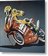 Motorbike Racing Grunge Color Metal Print
