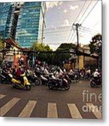 Motorbikes In Traffic Metal Print