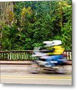 Motorcycle And Green Forest Metal Print