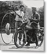 Motorcycle And Velocipede - 1921 Metal Print