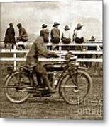 Motorcycle At Salinas California Rodeo Grounds Circa 1910 Metal Print