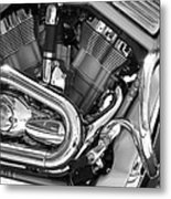 Motorcycle Close-up Bw 1 Metal Print