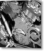 Motorcycle Close-up Bw 2 Metal Print