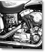 Motorcycle Close-up Bw 3 Metal Print