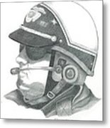 Motorcycle Officer On The Job Metal Print