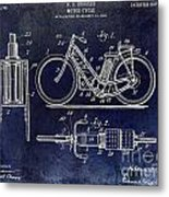 1903 Motorcycle Patent Blue Metal Print