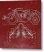 Motorcycle Support Patent Drawing From 1932 3 Metal Print